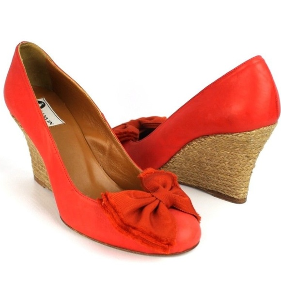 1b71266c98f Lanvin Red Leather Orange Bow Espadrilles Size 38